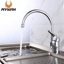 MYNAH Kitchen Faucet Chrome Polished Single Holder Single Hole Tap Classic Sink Faucet
