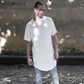 Envmenst 2017 Hip Hop Camiseta de Mangas Curtas dos homens T-Shirt irregular Projetado T-shirt camisas Curva Hem Homens Street Wear topos