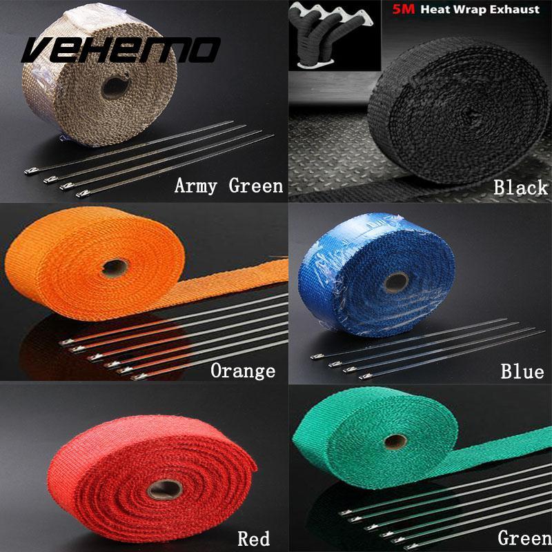 Vehemo 2x5m Titanium Temp Exhaust Heat Wrap Heater Resistant Downpipe 10 Ties Car Motorcycle Tape Replacement