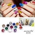 12 botellas/set 3D Lentejuelas Nail Art Decoración de Uñas Glitter Mini Ultrafino Deslumbrantes Colores Profundos de Uñas Paillette Delgada BRICOLAJE perla Consejos