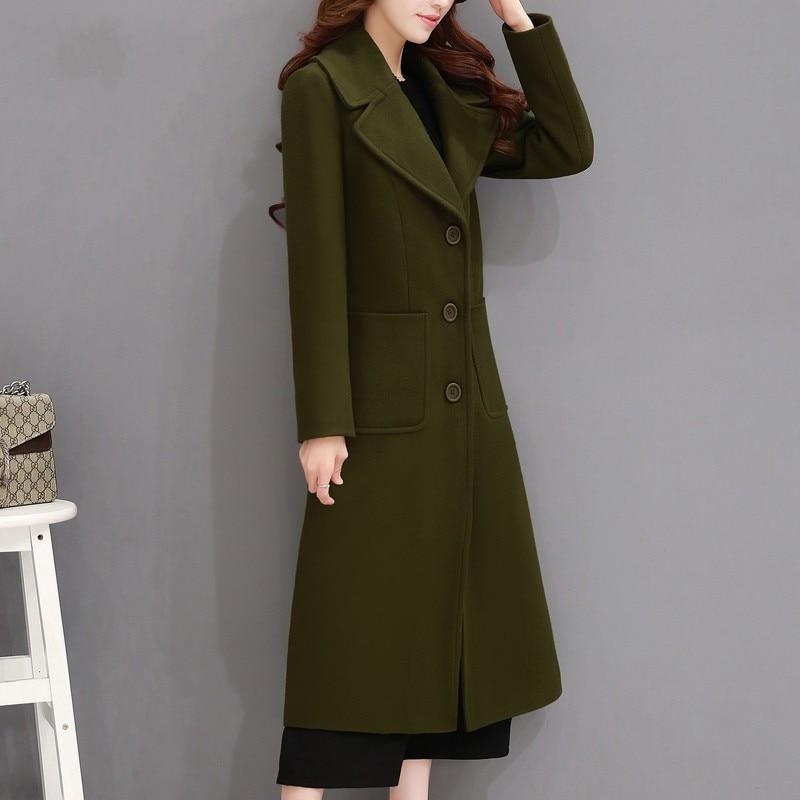 2018 Elegant Autumn Winter Wool Coat Women Over Knee Long Parka Jacket Female Single-Breasted Maxi Woolen Coats Overcoat C3522