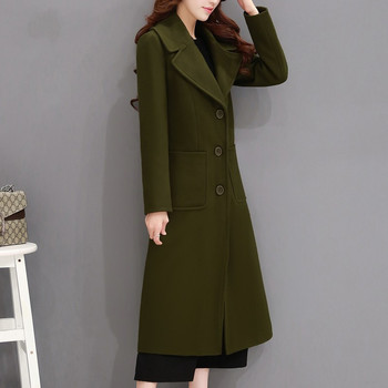 2018 Elegant Autumn Winter Wool Coat Women Over Knee Long Parka Jacket Female Single-Breasted Maxi Woolen Coats Overcoat C3522