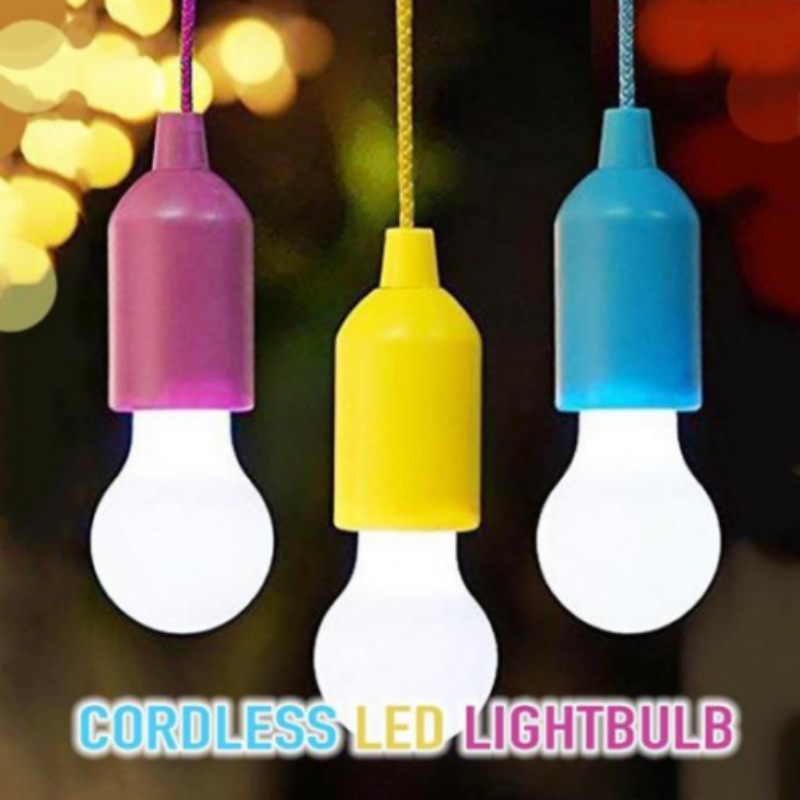 Portable Retro Pull-Rope LED Hanging Light Bulb Battery Operated Lightweight For Camping LED Stringligts