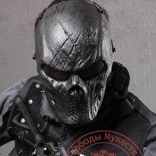 قناع حماية للوجه بالكامل من الجمجمة بلون أسود بلون Airsoft في لعبة المناورات الخارجية معدات تكتيكية CS War