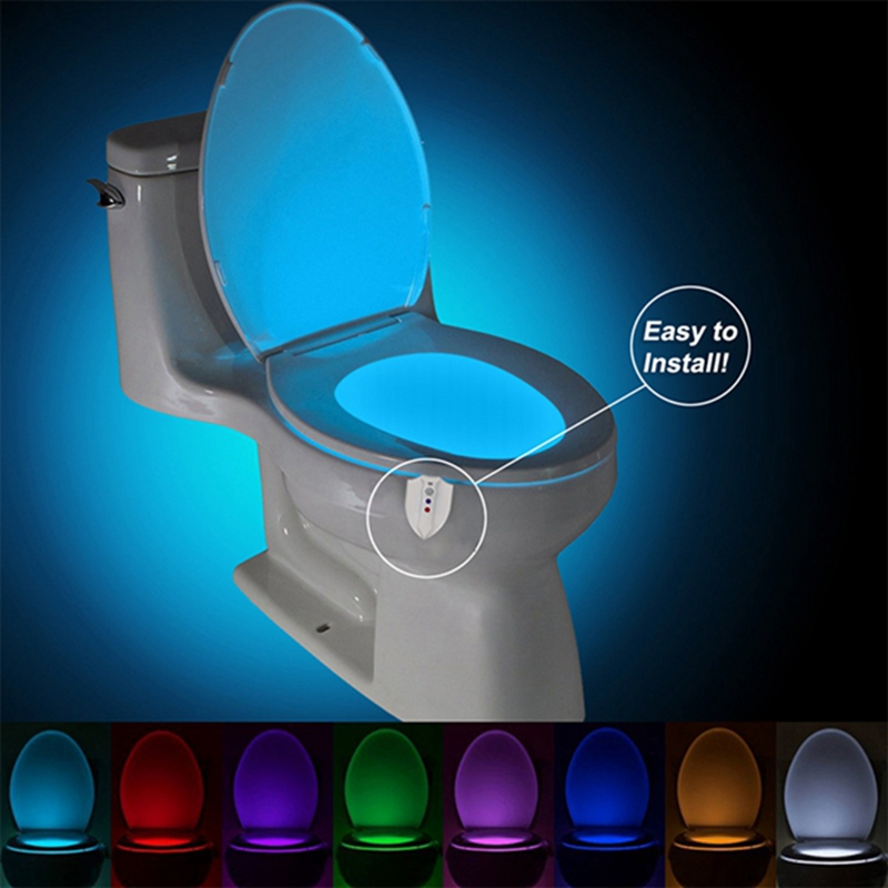UV Sterilization Toilet Light Motion Sensor Activated RGB PIR LED Night Light Battery Operated Creative Toilet Bowl Lights