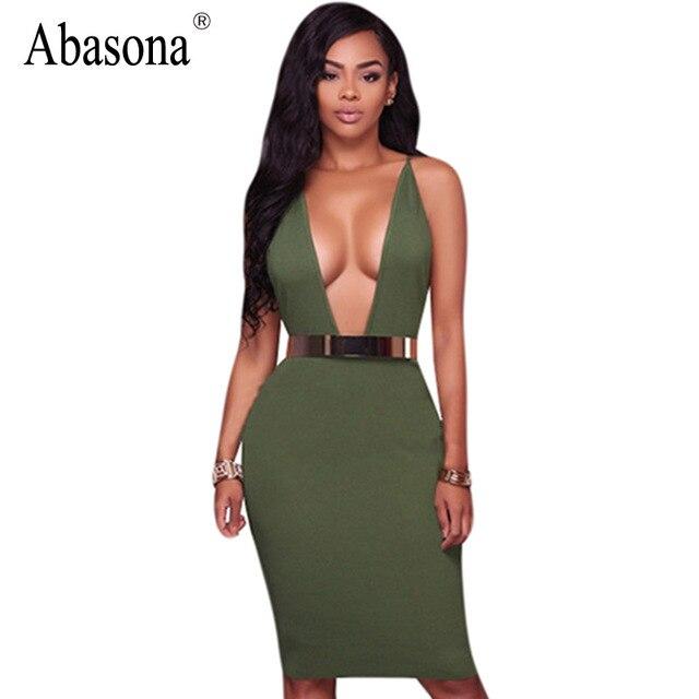 ce2f5719c395 Abasona Sexy bandage bodycon party dresses Summer spaghetti strap v-neck  back cross midi Sheath dress women backless club dress