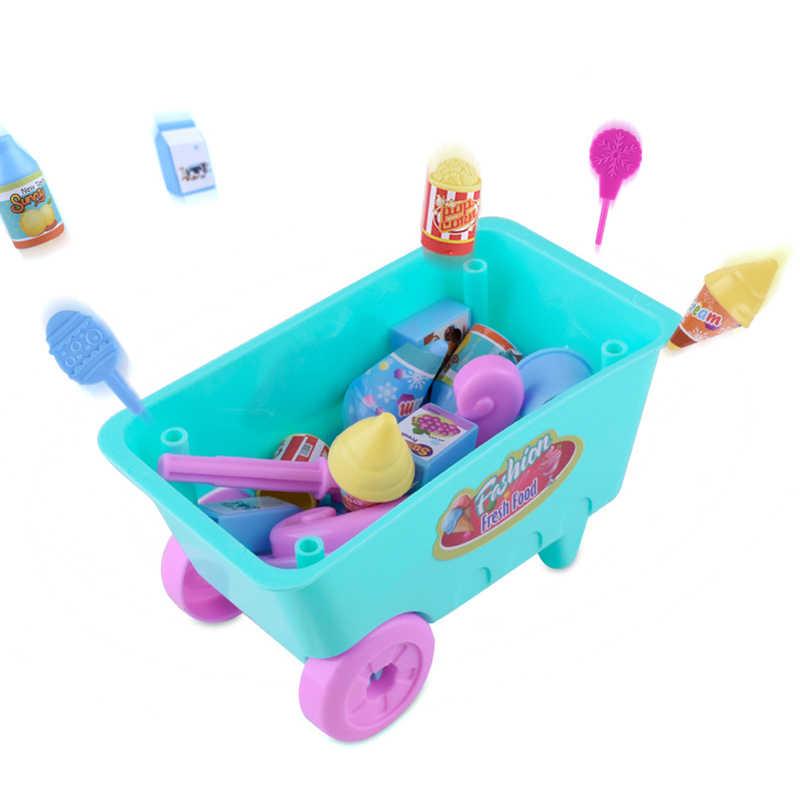 ألعاب المطبخ للأطفال هدية الساخن الاطفال الحرفية الآيس كريم الحلوى عربة منزل اللعب ألعاب تعليمية سوبر مضحك الآيس كريم سيارات لعب