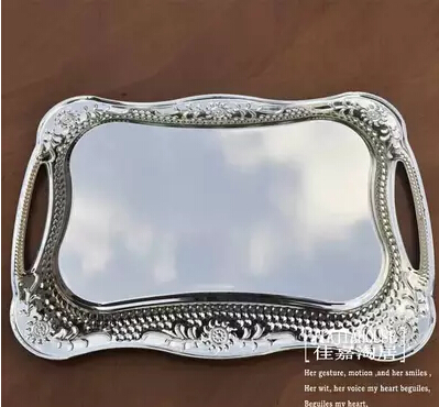 40 30cm Rectangle Metal Serving Tray Silver Decorative Trays Fruit Bowl Home Storage Ft021 In From