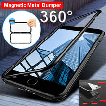 Magnetic Adsorption Case for iPhone X XS Max XR Case 7Plus 8Plus 7 8 6 Tempered Glass+Built-in Magnet 360 Full Protection Case(China)