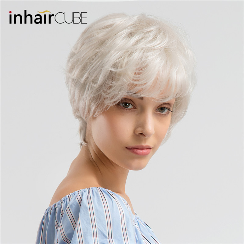 INHAIR CUBE Synthetic Blend Hair Natural Wave Short Wigs With Bangs Grey White Fluffy Multilayered Wig For Women Free Gift