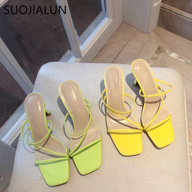 SUOJIALUN 2019 Summer Woman Slipper Fahion Lycra Fluorescent Sandal High Quality High Heel Slippers Slip On Outdoor Flip Flop