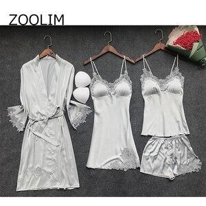 Image 5 - ZOOLIM 4 Pieces Women Pajamas Sets Satin Sleepwear Silk Nightwear Pyjama Spaghetti Strap Sleep Lounge Pijama with Chest Pads