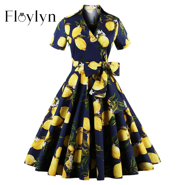 Floylyn Vintage Frauen Blumenkleid Lemon Drucken Partykleid Stil ...