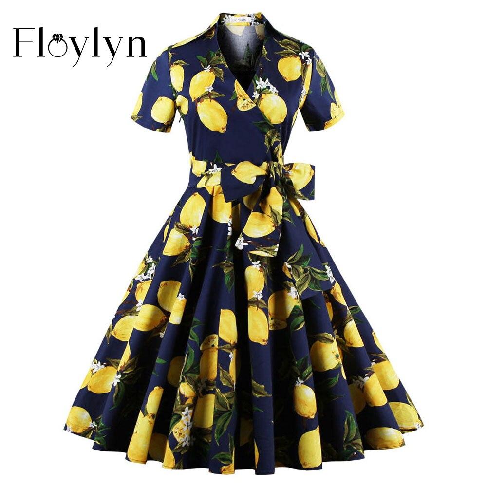 Floylyn Vintage Women Floral Dress Lemon Print Party Dress Style 1950s Rockabilly Dress Sashes Slim Women Vintage Dresses