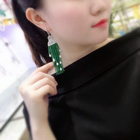 Qi Xuan_Green Chalcedony Tassel Earrings S925 Silver Plated White Gold Hand Inlaid Exquisite Atmosphere Ear Studs Promotional