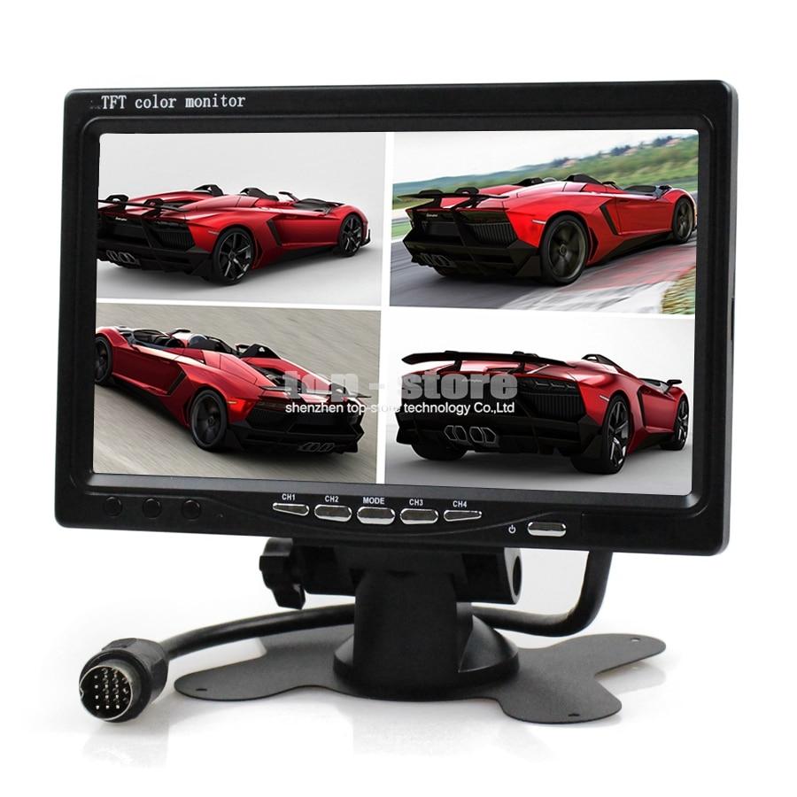 ФОТО DIYSECUR DC12V-24V 7 Inch 4 Split Quad LCD Screen Display Color Rear View Monitor for Monitoring System