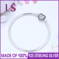 LS Real 100 925 Sterling Silver Luxury Sparkling Heart Bangle Bracelet Fit Original Beads Charm Women