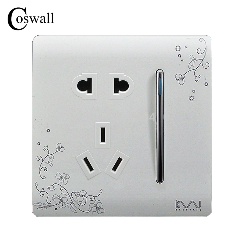 COSWALL Luxury Wall Electrical Socket 5 Hole Power Outlet With 1 Gang 2 Way Switch AC 110~250V