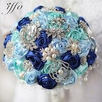 8 дюймов пользовательские синий брошь букет невесты кристалл жемчуг Королевский синий букет роз, цвет небесно синий & Mint Свадебные украшени