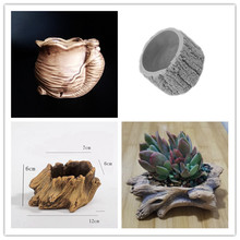 Tree Root Bark Cement Succulent Plants Silicone Mold Round Shape Ginseng flower pot molds Handmade Clay Mould