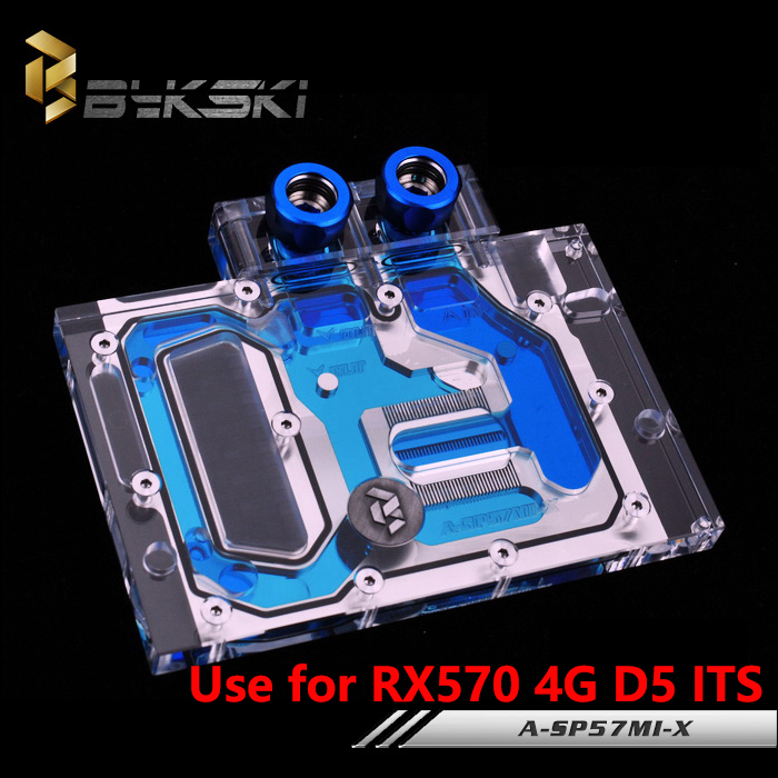BYKSKI A-SP57MI-X Full Cover Graphics Card Block use for Sapphire RX570-4G-D5-ITS Video Card Block RGB light Controller 4pin mgt8012yr w20 graphics card fan vga cooler for xfx gts250 gs 250x ydf5 gts260 video card cooling
