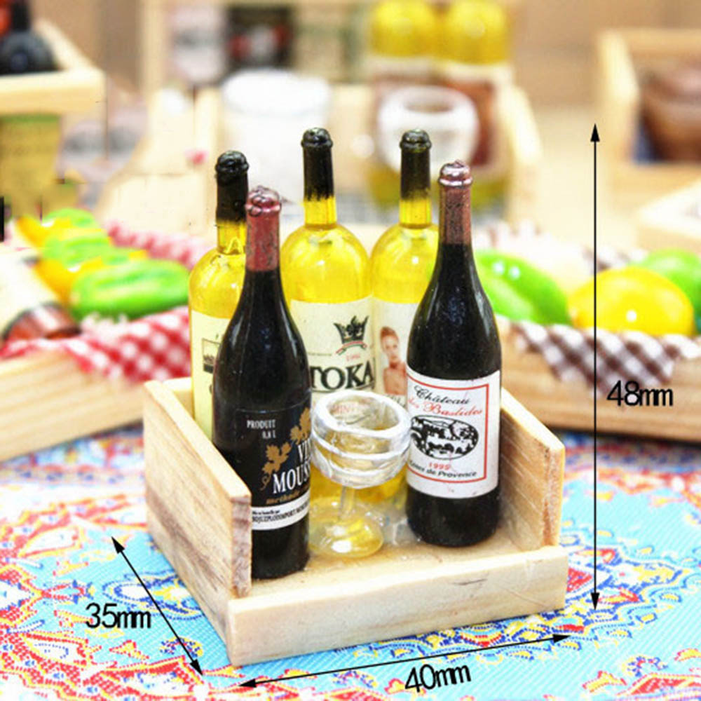1/12 Dollhouse Miniature Accessories Mini Wine Bottle Goblet Set With Box Simulation Drinks Model Toys For Doll House Decoration