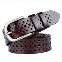 Роскошный кожаный ремень для женская обувь высокого качества отверстие моды коричневый ремешок pin металлической пряжкой пригородам роковой из коровьей кожи wbl086