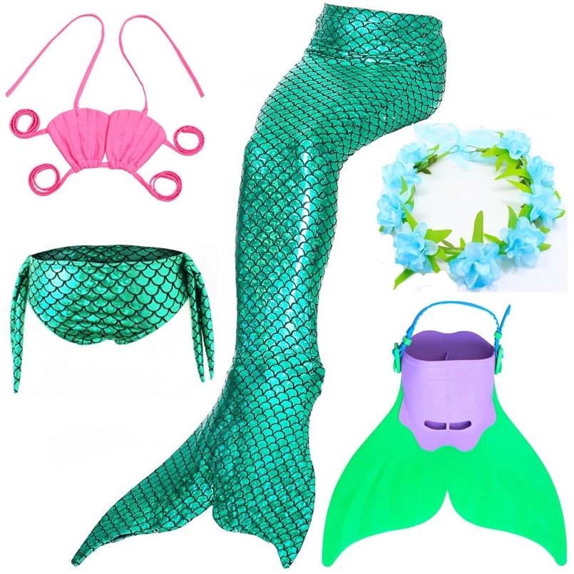 Children Swimming Mermaid Tail With Monofin Cosplay Costume Bikini Girls Kids Mermaid Swimsuit Tails Swimming Flipper