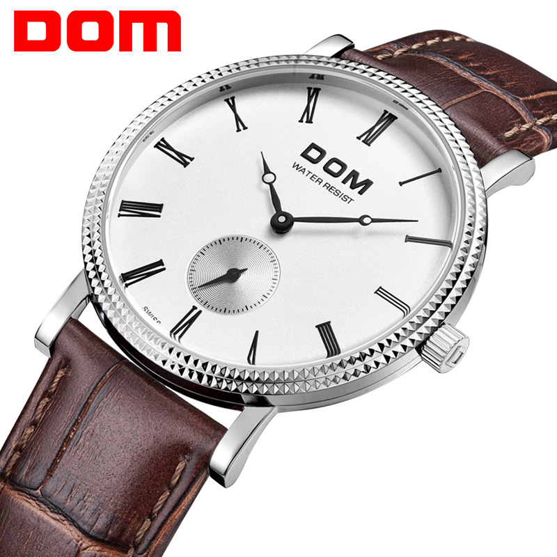 DOM  Mens Watches Top Brand Luxury  Men Waterproof Quartz Watch Male Business Leather Watch Colok Relogio Masculino M-253L-7M