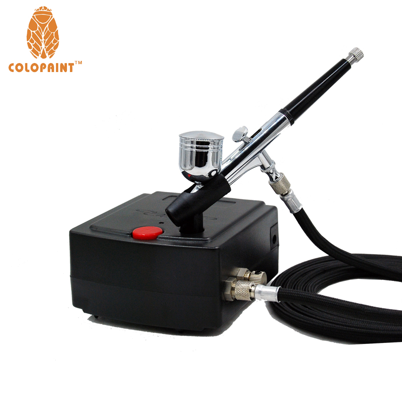 Sistem Colopaint 0.3mm Nozzle 7CC Makeup Airbrush Kit Untuk Nail Art Makeup Tubuh Cat 100-240 V