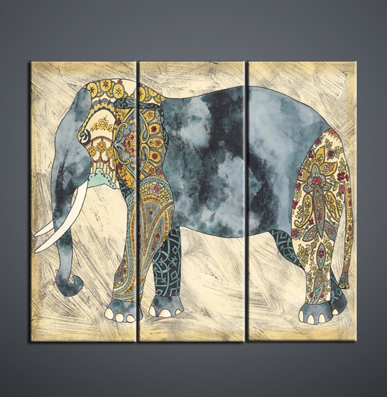 Wall Art Living Room Decorative Painting Animal Elephant 3 Combination Canvas Frame High Definition Inkjet Factory Sale On