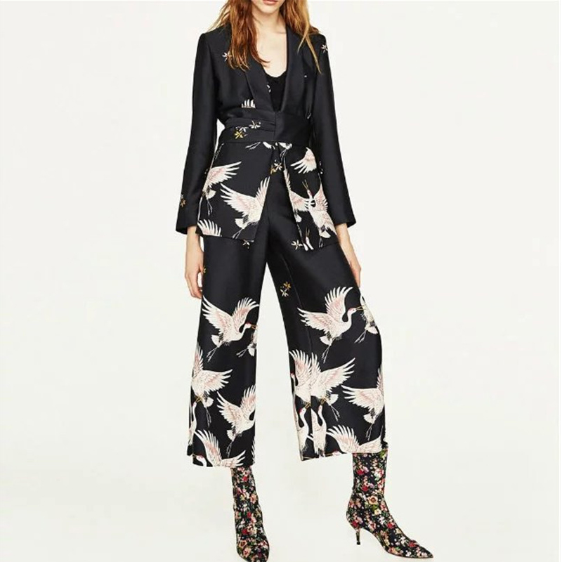 Crane Floral   Jacket   Women Coat Fashion   Basic     Jackets   Slim Casual Blue Spring Autumn Female Cotton Kimono Coats KLD1182