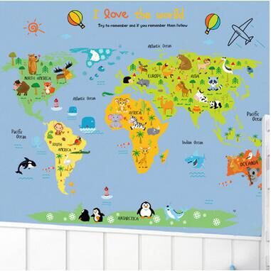 Free Shipping ABC Manufacturers Wholesale Wall Stickers World - Children's map of the world to print free