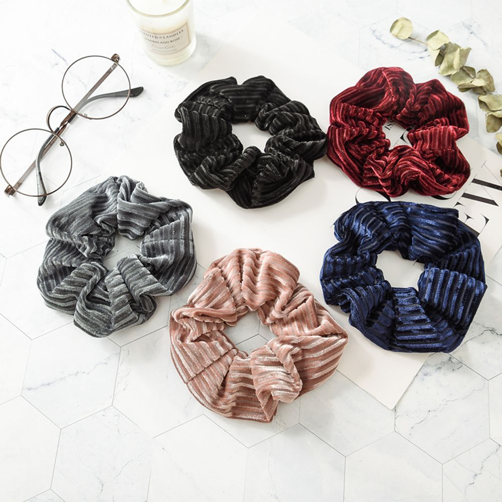 1 PC Large Size Stripe Velvet Scrunchies Women Ponytail Holder Hair Rope Tail Wrap Elastic Hair Bands Girls Hair Accessories