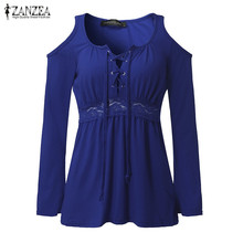 ZANZEA Women Blouses Autumn 2016 Sexy Blusas V Neck Long Sleeve Off Shoulder Lace Up Casual Tops Tee Solid Shirts Plus Size