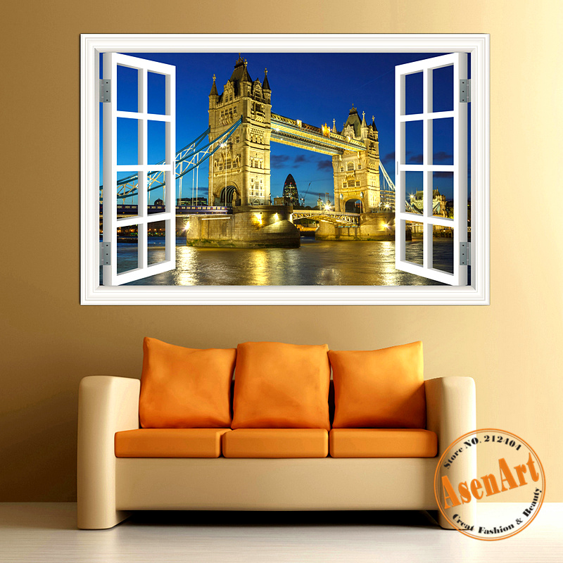Buy 3d wall sticker famous bridge window for Home decor 3d stickers