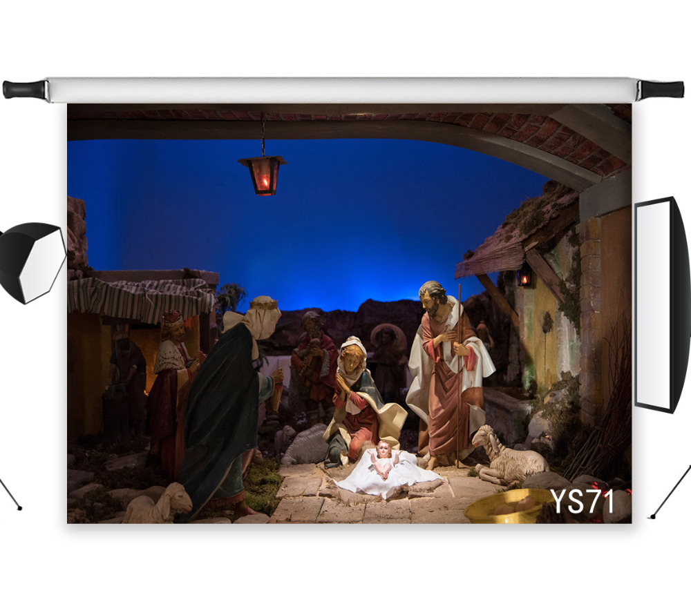 Christmas Stable Background.Us 23 06 Lb 9x6ft Christmas Vinyl Photography Backdrops Nativity Of Jesus In Stable Studio Photo Background Prop Holiday Party Decoration In