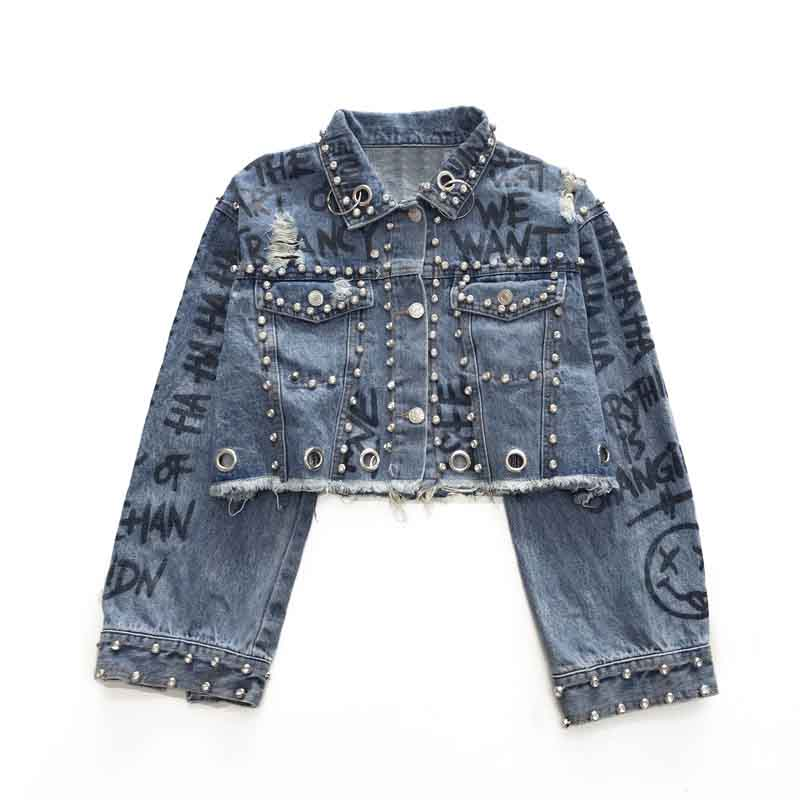 Handmade Studded Rivet Denim Jacket Autumn Women Coats Blue Printed Lapel Single Breasted 2018 Women's Jackets and Coats