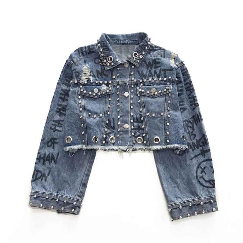 Handmade Studded Rivet Denim Jacket Autumn Women Coats Blue Printed Lapel Single Breasted 2018 Women's Jackets and Coats