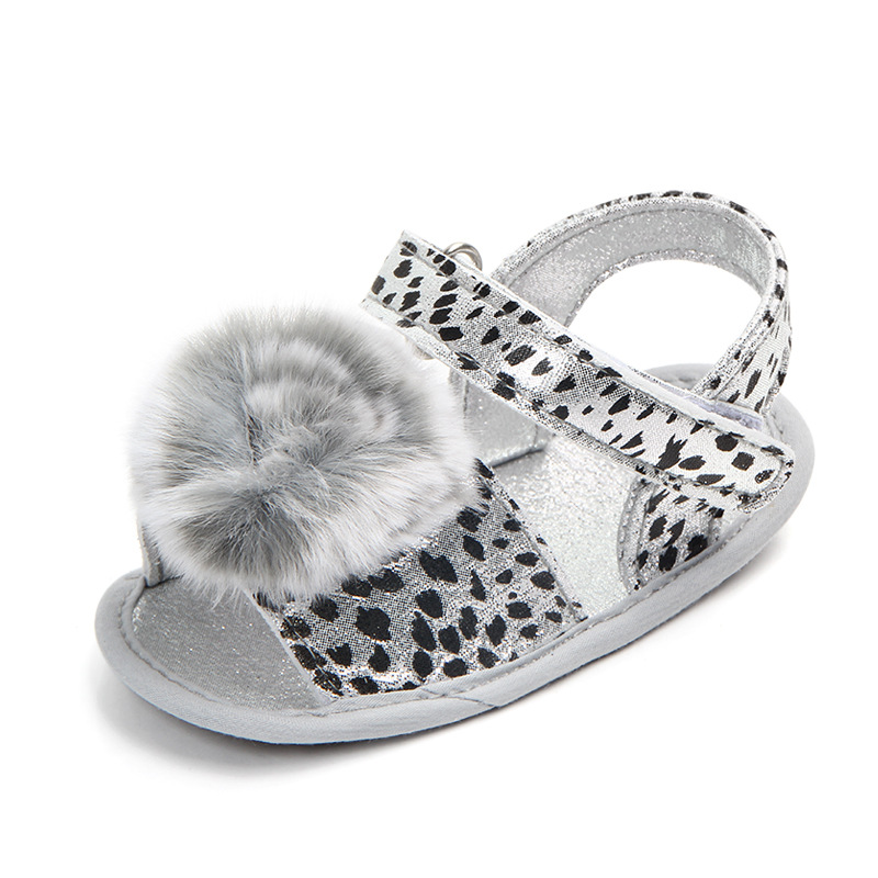 Купить с кэшбэком Leopard Newborn Toddler Baby Girls Summer Sandal Shoes Cute Fur Ball Solid Flat Heel Outfit 0-18M Baby Shoes