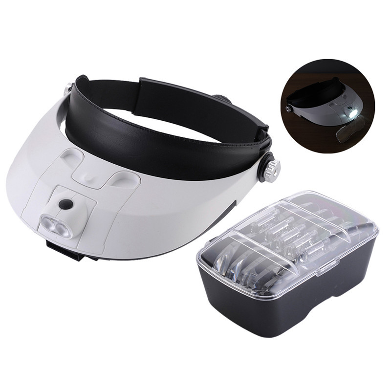 Headband Headset Hand Free Magnifying Head Jewellery 2 LED Light Magnifier Loupe Head Magnifying  headband headset led head light magnifier magnifying glass loupe 5 lens set
