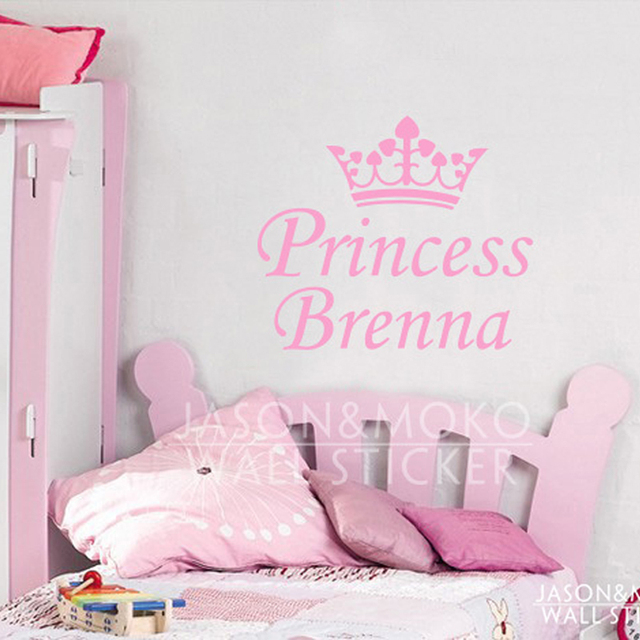 Cute Pink Princess Crown Baby Girls Name Customized Personalized Children Bedroom Home Wall Sticker Decal