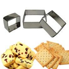 3 CÁI/BỘ Vuông Hình Dạng Khuôn Sugarcraft Biscuit Công Cụ Cookie Bánh Pastry Baking Cutter Khuôn Tool Cho Bánh