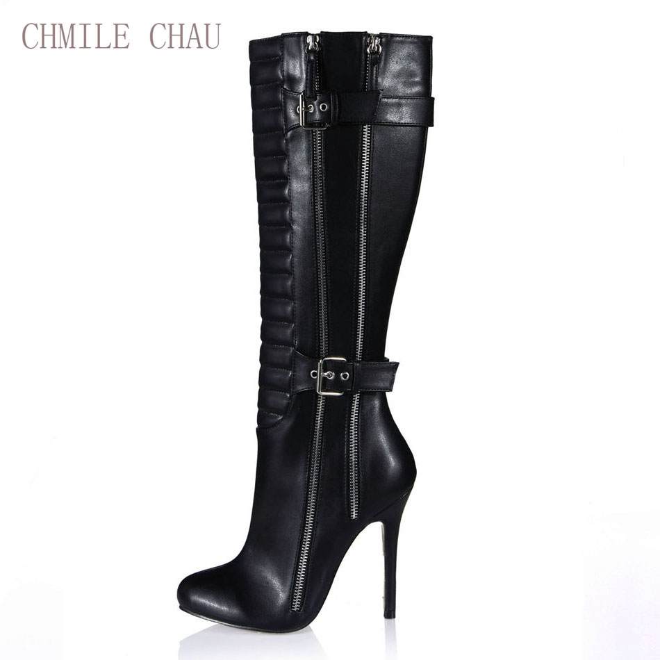 CHMILE CHAU Burgundy Black Sexy Party Shoes Women Stiletto Heels Tinggi Buckle Zipper Knee-Boot Tinggi Zapatos Mujer 0640CBT-Y1