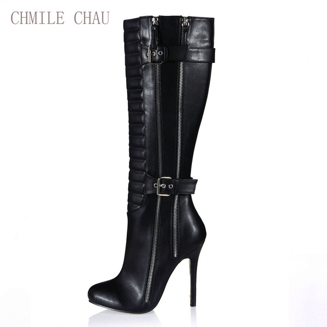7bdd7e66369 CHMILE CHAU Burgundy Black Sexy Party Shoes Women Stiletto High Heels  Buckle Zipper Lady Knee-High Boot Zapatos Mujer 0640CBT-Y1