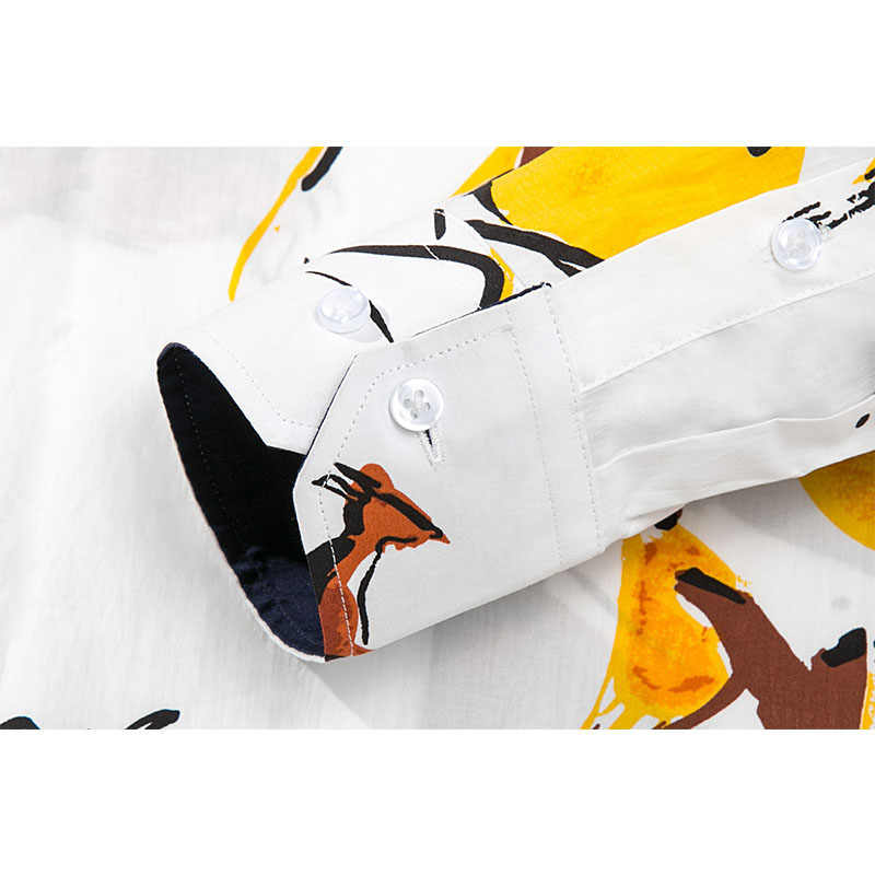 2019 mannen gedrukt shirt slim fit lange mouwen mode moda hombre casual Merk Mannen Kleding shirt comfortabel en zacht touch