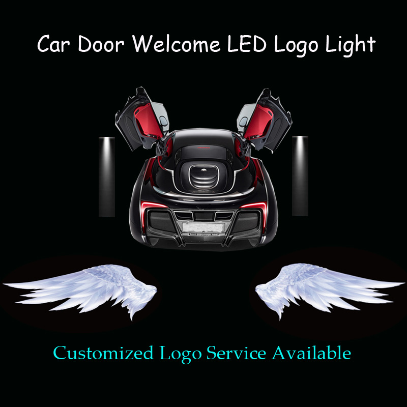 2x 3D Angel Wings Logo Car Door Motorcycle Scooter Welcome Courtesy Ghost Shadow Puddle Spotlight Laser Projector LED Light sunkia led pathway lighting welcome lamp angel wings light projector ghost shadow puddle for all cars and motorcycles