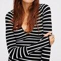 Женщины Полосатый Печати Рубашки 2016 Осень Зима Blusas Femininas Sexy Длинным Рукавом Тонкий Топы Блузки V Шеи Плюс Размер