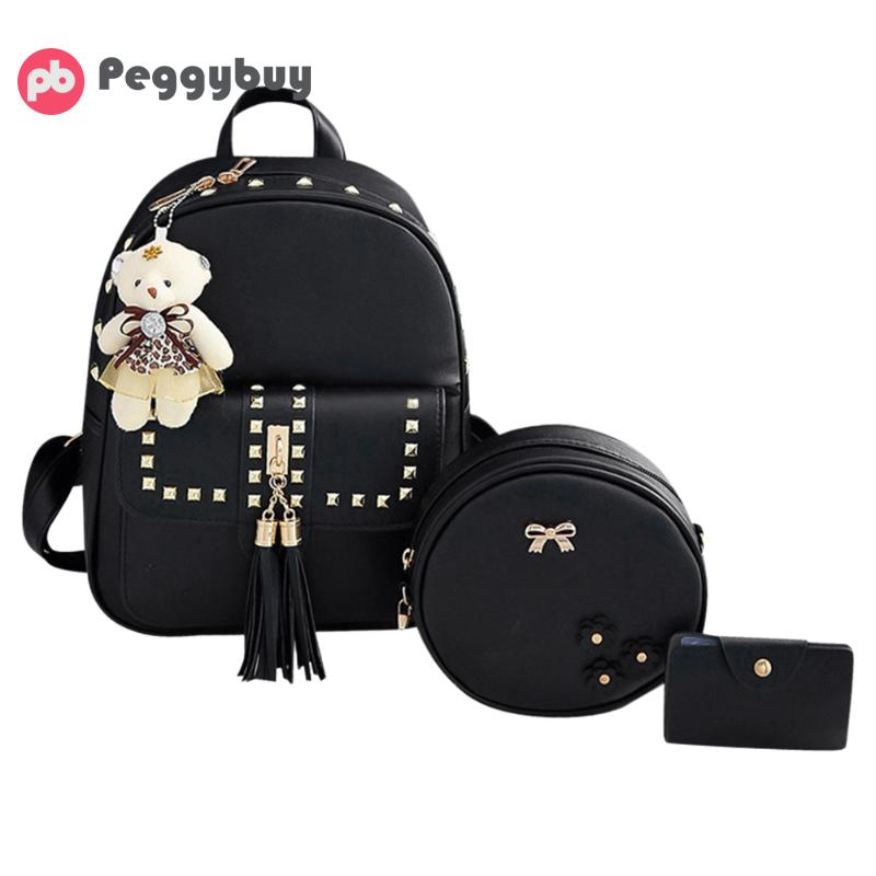 f8dc21d53119 3Pcs Set Fashion Pu Leather Tassel Backpacks Diamond Rivet School Bag for  Teenage Girls New Design Ladies Crossbody Bag Card Bag