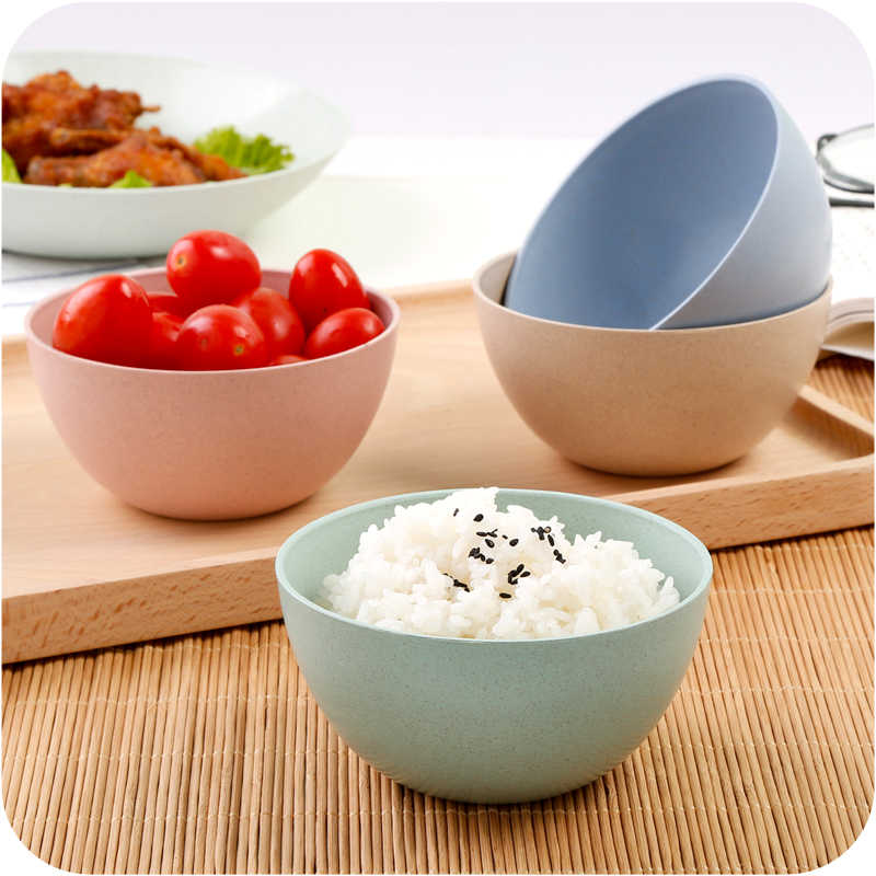 4 Color Tableware Bowl Plate Kids Wheat Straw Bowl Dishes Baby Feeding Bowl Dinner Lunch Food Container Camping Lunch Box